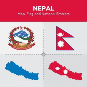 nepal map flag and national emblem