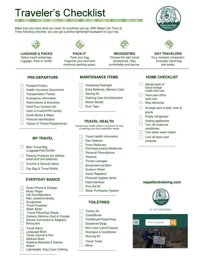 Lightweight Backpack Checklist